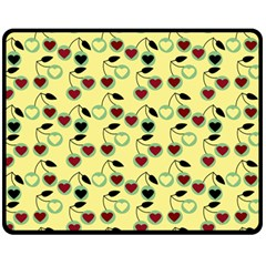 Yellow Heart Cherries Fleece Blanket (medium)  by snowwhitegirl