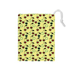 Yellow Heart Cherries Drawstring Pouches (medium)  by snowwhitegirl