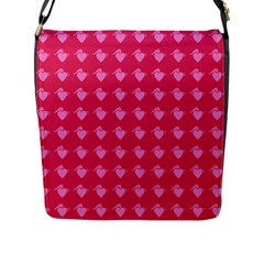 Punk Heart Pink Flap Messenger Bag (l)  by snowwhitegirl