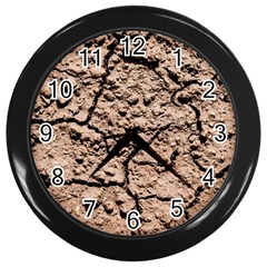 Earth  Light Brown Wet Soil Wall Clock (black) by FunnyCow