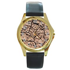 Earth  Light Brown Wet Soil Round Gold Metal Watch by FunnyCow