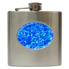 Blue Clear Water Texture Hip Flask (6 Oz) by FunnyCow