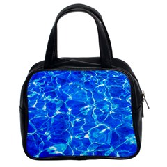 Blue Clear Water Texture Classic Handbags (2 Sides) by FunnyCow