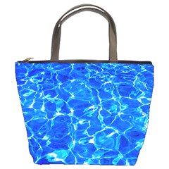 Blue Clear Water Texture Bucket Bags by FunnyCow