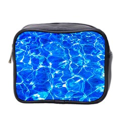 Blue Clear Water Texture Mini Toiletries Bag 2 Side by FunnyCow