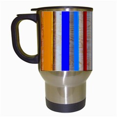 Colorful Wood And Metal Pattern Travel Mugs (white) by FunnyCow