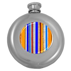 Colorful Wood And Metal Pattern Round Hip Flask (5 Oz) by FunnyCow