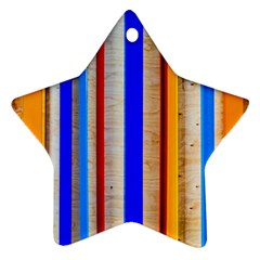 Colorful Wood And Metal Pattern Star Ornament (two Sides) by FunnyCow