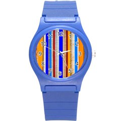 Colorful Wood And Metal Pattern Round Plastic Sport Watch (s) by FunnyCow