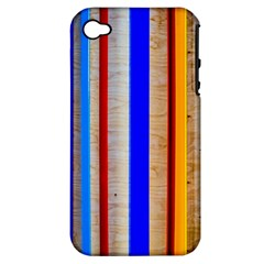 Colorful Wood And Metal Pattern Apple Iphone 4/4s Hardshell Case (pc+silicone) by FunnyCow