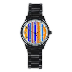Colorful Wood And Metal Pattern Stainless Steel Round Watch by FunnyCow
