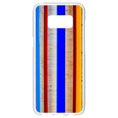 Colorful Wood And Metal Pattern Samsung Galaxy S8 White Seamless Case by FunnyCow