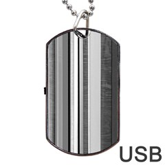 Shades Of Grey Wood And Metal Dog Tag Usb Flash (two Sides) by FunnyCow