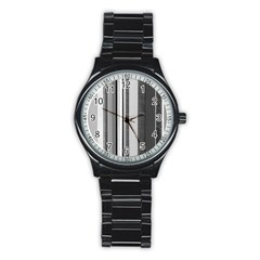 Shades Of Grey Wood And Metal Stainless Steel Round Watch by FunnyCow