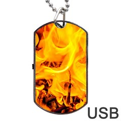Fire And Flames Dog Tag Usb Flash (one Side) by FunnyCow