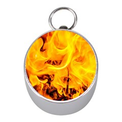 Fire And Flames Mini Silver Compasses by FunnyCow
