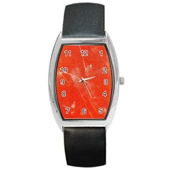 Grunge Red Tarpaulin Texture Barrel Style Metal Watch by FunnyCow