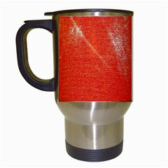 Grunge Red Tarpaulin Texture Travel Mugs (white) by FunnyCow