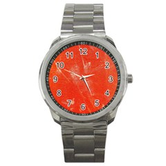Grunge Red Tarpaulin Texture Sport Metal Watch by FunnyCow