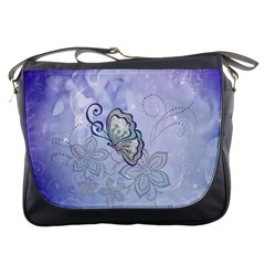 Wonderful Butterlies With Flowers Messenger Bags by FantasyWorld7
