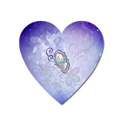 Wonderful Butterlies With Flowers Heart Magnet by FantasyWorld7