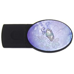 Wonderful Butterlies With Flowers Usb Flash Drive Oval (4 Gb) by FantasyWorld7