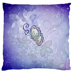 Wonderful Butterlies With Flowers Large Cushion Case (one Side) by FantasyWorld7