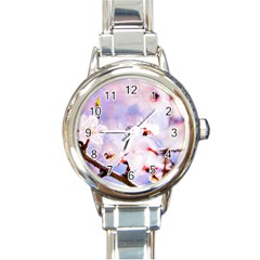 Pink Sakura Purple Background Round Italian Charm Watch by FunnyCow