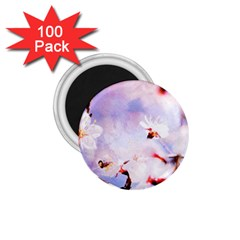 Pink Sakura Purple Background 1 75  Magnets (100 Pack)  by FunnyCow