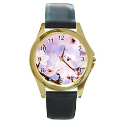 Pink Sakura Purple Background Round Gold Metal Watch by FunnyCow