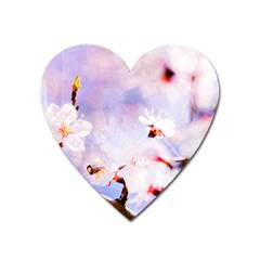 Pink Sakura Purple Background Heart Magnet by FunnyCow