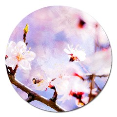 Pink Sakura Purple Background Magnet 5  (round) by FunnyCow