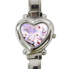 Pink Sakura Purple Background Heart Italian Charm Watch by FunnyCow