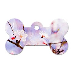 Pink Sakura Purple Background Dog Tag Bone (two Sides) by FunnyCow