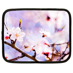 Pink Sakura Purple Background Netbook Case (large) by FunnyCow