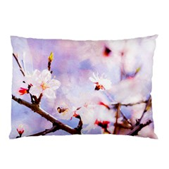 Pink Sakura Purple Background Pillow Case by FunnyCow