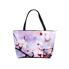 Pink Sakura Purple Background Shoulder Handbags by FunnyCow