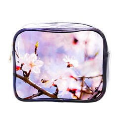 Pink Sakura Purple Background Mini Toiletries Bags by FunnyCow