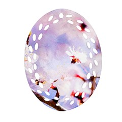 Pink Sakura Purple Background Ornament (oval Filigree) by FunnyCow