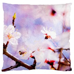 Pink Sakura Purple Background Large Cushion Case (one Side) by FunnyCow
