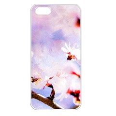 Pink Sakura Purple Background Apple Iphone 5 Seamless Case (white) by FunnyCow