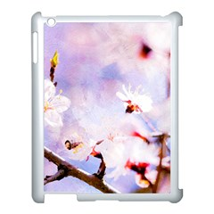 Pink Sakura Purple Background Apple Ipad 3/4 Case (white) by FunnyCow