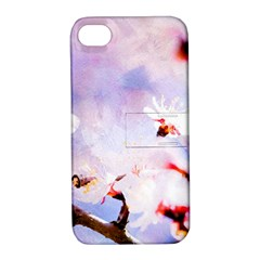 Pink Sakura Purple Background Apple Iphone 4/4s Hardshell Case With Stand by FunnyCow
