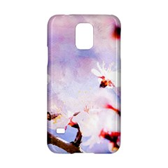 Pink Sakura Purple Background Samsung Galaxy S5 Hardshell Case  by FunnyCow