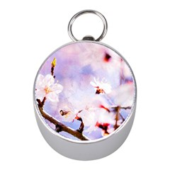 Pink Sakura Purple Background Mini Silver Compasses by FunnyCow