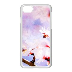 Pink Sakura Purple Background Apple Iphone 8 Seamless Case (white) by FunnyCow