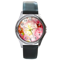Pink Flowering Almond Flowers Round Metal Watch by FunnyCow
