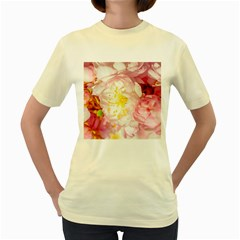 Pink Flowering Almond Flowers Women s Yellow T Shirt by FunnyCow