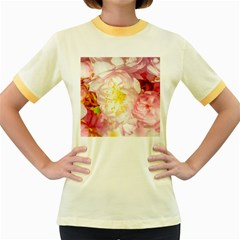 Pink Flowering Almond Flowers Women s Fitted Ringer T Shirt by FunnyCow