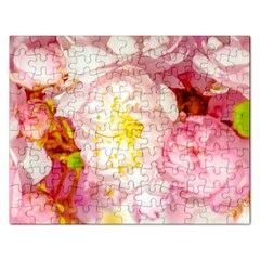 Pink Flowering Almond Flowers Rectangular Jigsaw Puzzl by FunnyCow